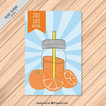 Folleto de botella dibujada a mano con zumo de naranja