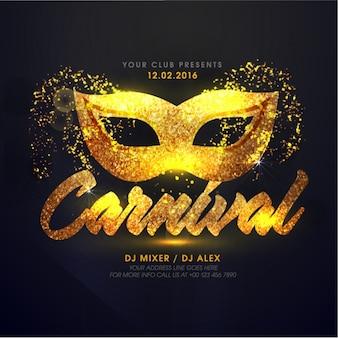Folleto de carnaval con máscara dorada