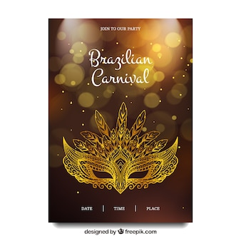 Folleto de carnaval de brasil con máscara elegante dorada