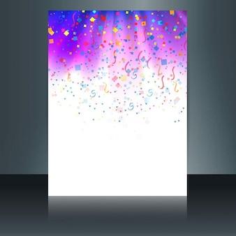 Folleto de confeti colorido brillante con serpentina