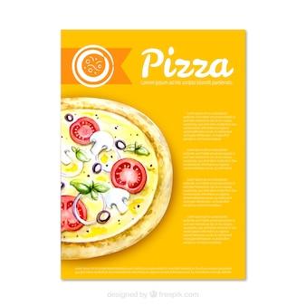 Folleto de deliciosa pizza
