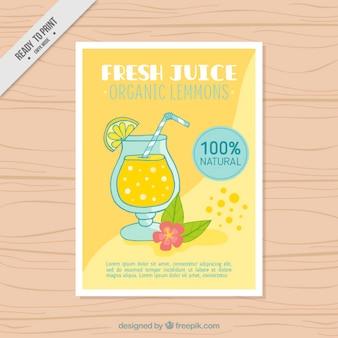 Folleto de delicioso zumo de naranja