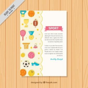 Folleto de elementos planos de deporte