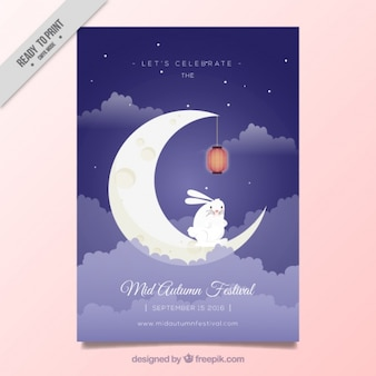 Folleto de festival de medio otoño con conejito en la luna