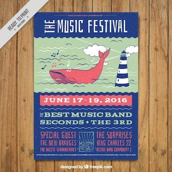 Folleto de festival de música con elementos marineros dibujados a mano