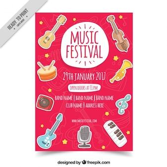 Folleto de festival de música con instrumentos dibujados a mano