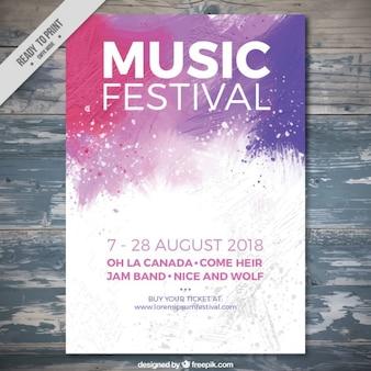 Folleto de festival de música de salpicadura