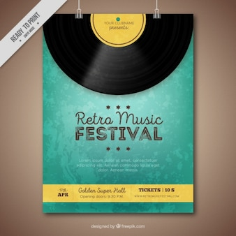 Folleto de festival de música retro con vinilo y detalles amarillos