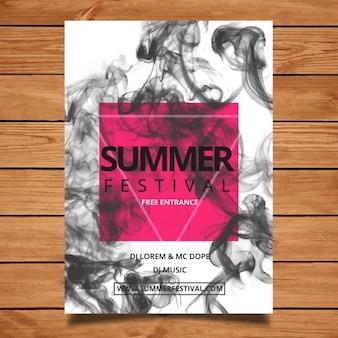 Folleto de festival de verano con humo