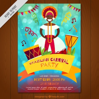 Folleto de fiesta de carnaval brasileño