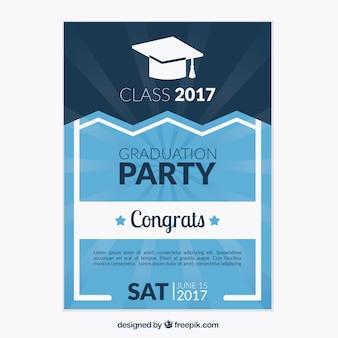 Folleto de fiesta de graduación azul con detalles blancos