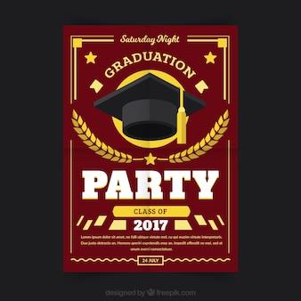 Folleto de fiesta de graduación con elementos amarillos
