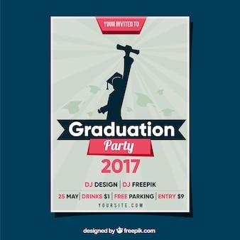 Folleto de fiesta de graduación con estudiante