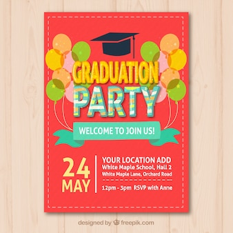 Folleto de fiesta de graduación de color con globos decorativos
