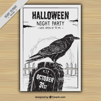 Folleto de fiesta de halloween con cuervo y tumba dibujados a mano