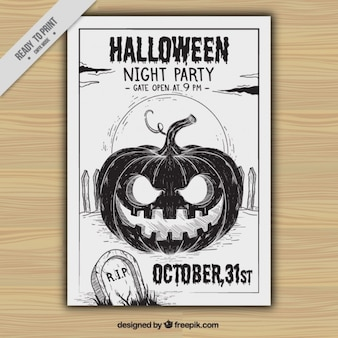 Folleto de fiesta de halloween de calabaza dibujada a mano