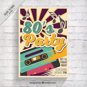 Folleto de fiesta de los ochenta con cinta de música