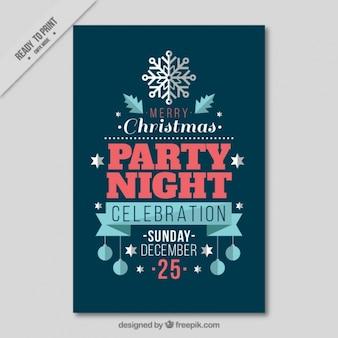 Folleto de fiesta de navidad en diseño plano