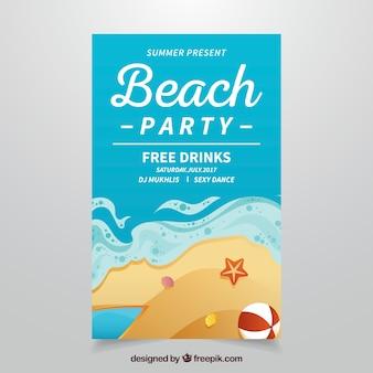 Folleto de fiesta de playa con elementos veraniegos