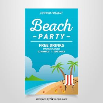 Folleto de fiesta de playa