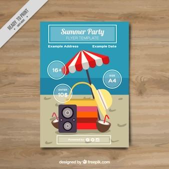 Folleto de fiesta de verano con elementos de playa
