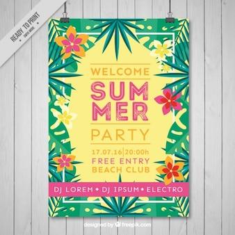 Folleto de fiesta de verano con flores tropicales