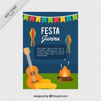 Folleto de fiesta junina con hoguera y guitarra