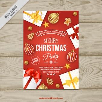 Folleto de fiesta navideña con regalos y bolas