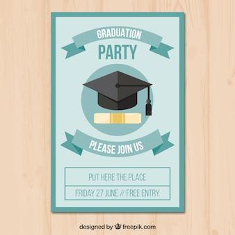 Folleto de fiesta plano con diploma y gorro de graduación