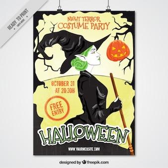Folleto de halloween con una bruja de pelo verde