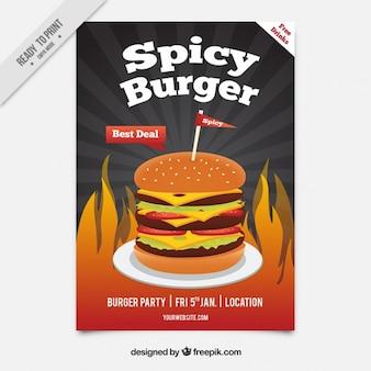 Folleto de hamburguesa picante