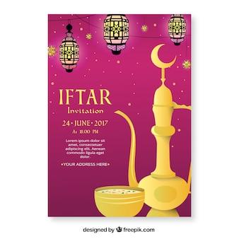 Folleto de iftar con elementos tradicionales