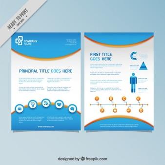 Folleto de infografía azul