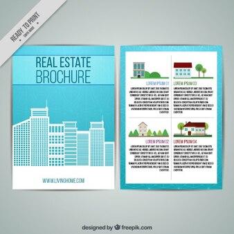 Folleto de inmobiliaria con rascacielos planos