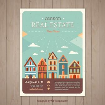 Folleto de inmobiliaria en estilo vintage