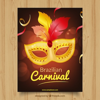 Folleto de máscara elegante de carnaval de brasil