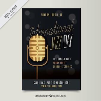 Folleto de micrófono dorado para evento de jazz