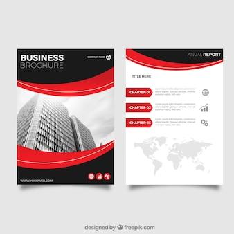Folleto de negocios con detalles rojos