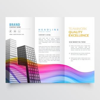 Folleto de negocios con formas onduladas en color de arco iris