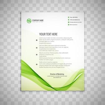 Folleto de negocios ondulado verde