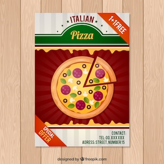 Folleto de pizza en diseño plano