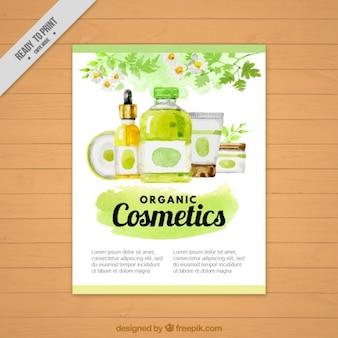 Folleto de productos cosméticos natuales de acuarela