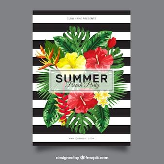 Folleto de rayas blancas y negras con flores de fiesta de verano
