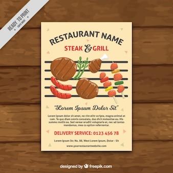 Folleto de restaurante con deliciosa barbacoa