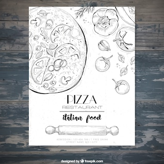 Folleto de restaurante italiano con bocetos de pizza