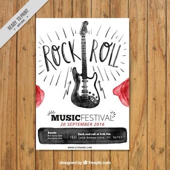 Folleto de rock and roll de acuarela