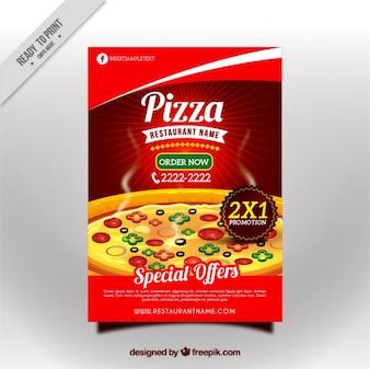 Folleto de sabrosa pizza con descuento