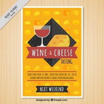 Folleto de vino y queso