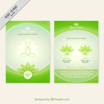 Folleto del centro de yoga abstracto verde