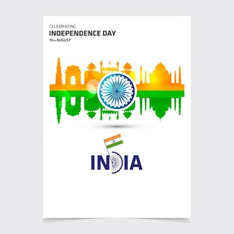 Folleto del día de independencia india con monumentos
